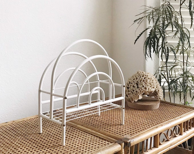 vintage white metal Art Deco magazine rack / hollywood regency home storage