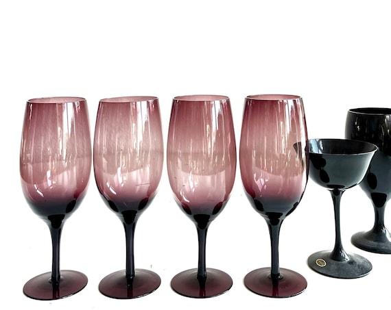 set of 4 larger smokey amethyst violet purple glass champagne wine stemware / glass goblets
