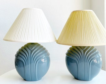 set of 2 art deco soft blue gray ceramic table lamp | art deco curved lines