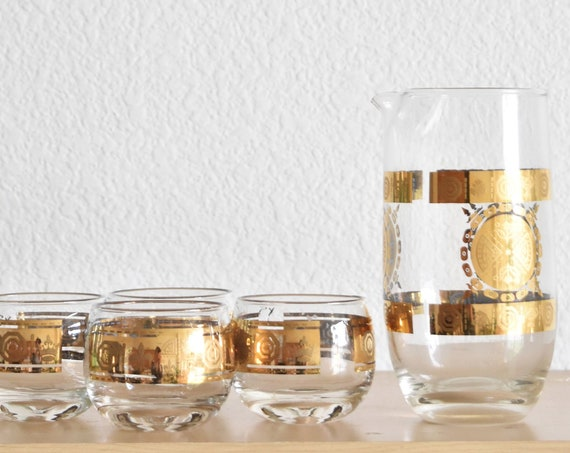culver valencia cocktail glass set with gold motif / decanter with glasses