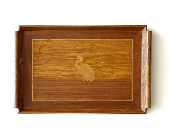 mid century modern etched wooden egret bird serving tray