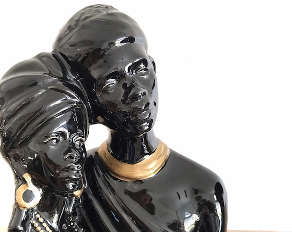 black gold ceramic african man and woman sculpture | black art | wedding gift