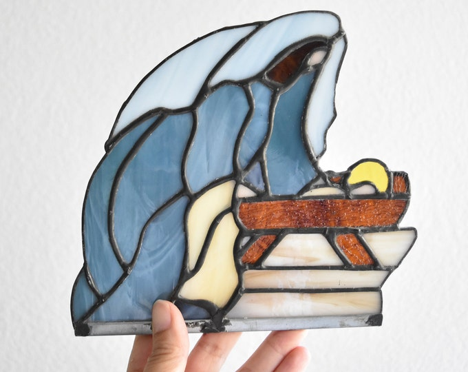 religious blue stain glass wall art / virgin mary and baby jesus / catholic christianity