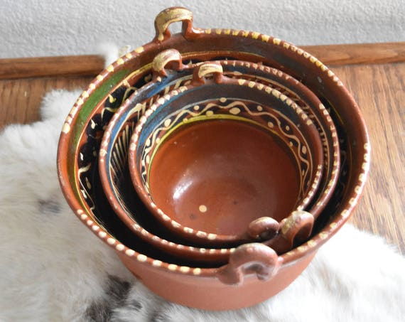 set of hand painted terra cotta clay mexican style bowls with handle / display storage