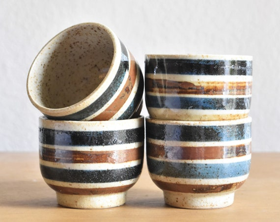 retro striped stoneware speckled brown brown blue japanese tea cup tumbler set of 4 / drinking cup collection / gift barware