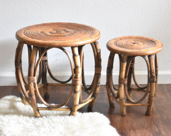 pair of bentwood chinoiserie woven bamboo rattan wood side tables / plant stands
