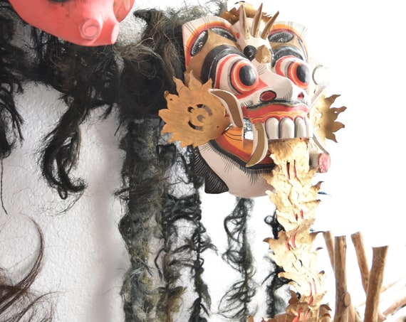 asian balinese barong vintage wall hanging mask |  bali rangda the demon queen theater mask with horse hair | Noh Kabuki Mask