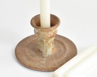 speckled brown stoneware glazed candleholder / candlestick holder