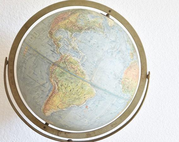solid metal 12 inch mid century modern replogle land and sea world globe / green blue