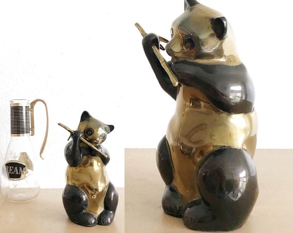 mid century modern brass panda bear figurine sculpture | asian bear