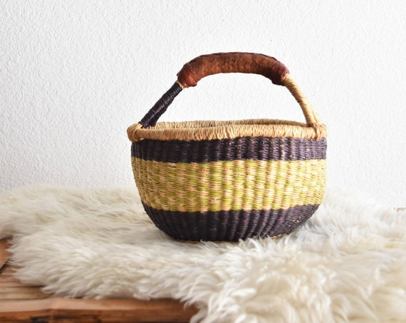 woven tribal african market basket with leather handles