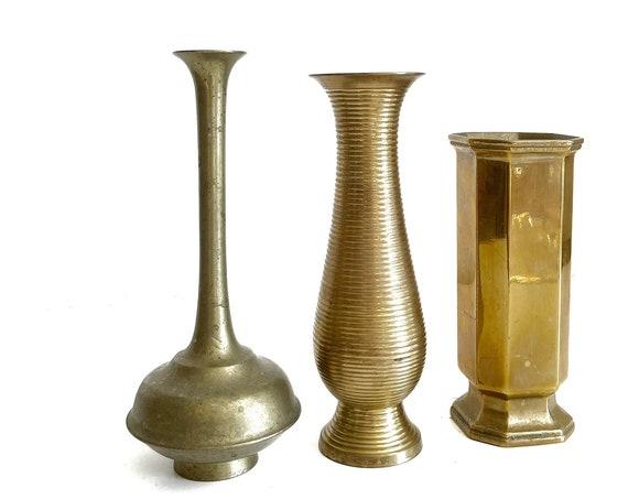 set of 3 solid brass flower vase | propagation bud vase