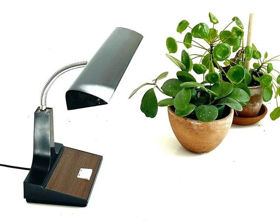 vintage black brown adjustable gooseneck office desk lamp / light