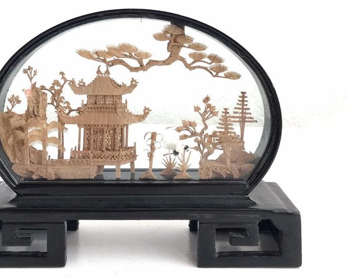asian chinese mid century cork diorama egret tree glass curio display