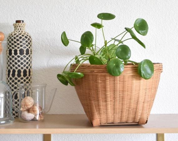 woven rattan bamboo basket planter | tapered