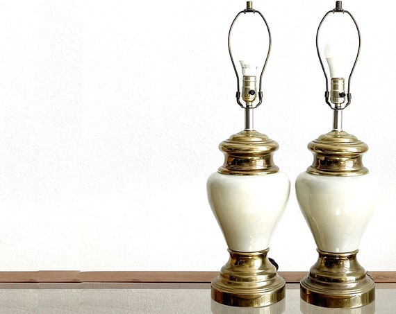 mid century modern pearl cream metal brass ginger table lamps | matching set of 2