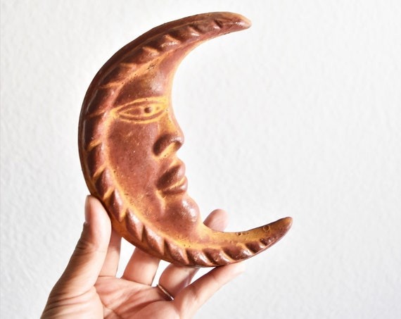 handmade mexican ceramic crescent moon sculpture wall hanging figurine