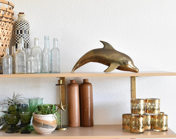 extra large mid century collectible brass dolphin figurine // nautical decor