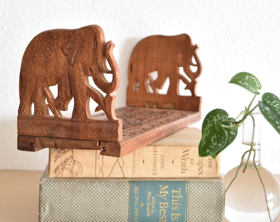 mid century office hand carved wood elephant figurine book holder | bookend