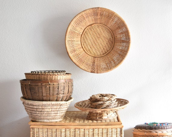 large woven bamboo rattan modern farmhouse wall hanging basket | winnowing basket