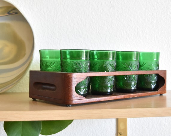 set of 8 forest green anchor hocking cocktail glasses / tumbler juice glass cup set with wood holder