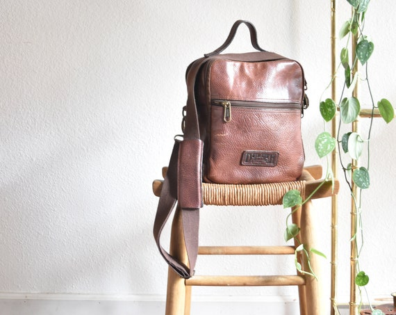 duluth brown real leather backpack with crossbody strap / travel weekender bag