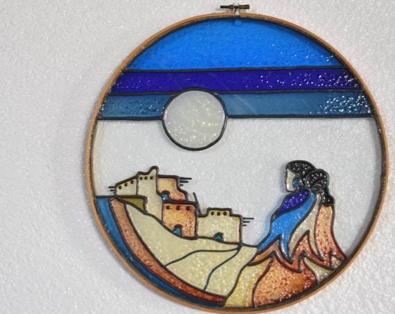 south western native american faux stain glass panel wall hanging art / suncatcher ornament