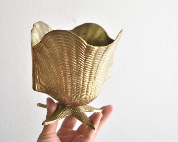 seashell clam shell mid century modern solid brass flower pot on a pedestal | footed planter