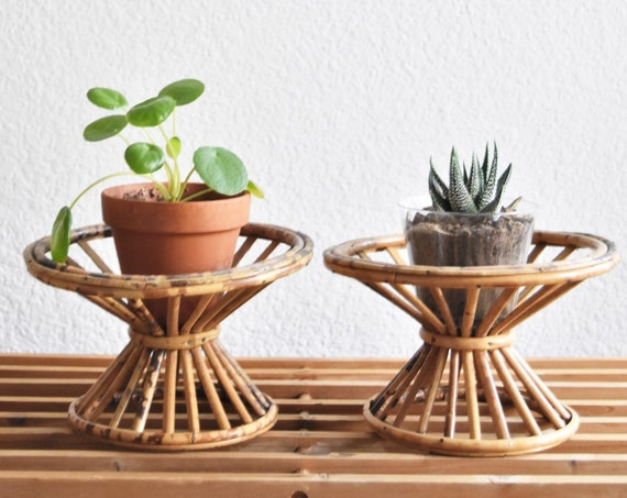 mid century modern rattan bamboo plant stand pot holder | one basket