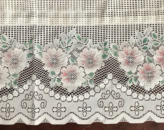 sheer short white pink lace flower valance window curtain panel / shabby chic