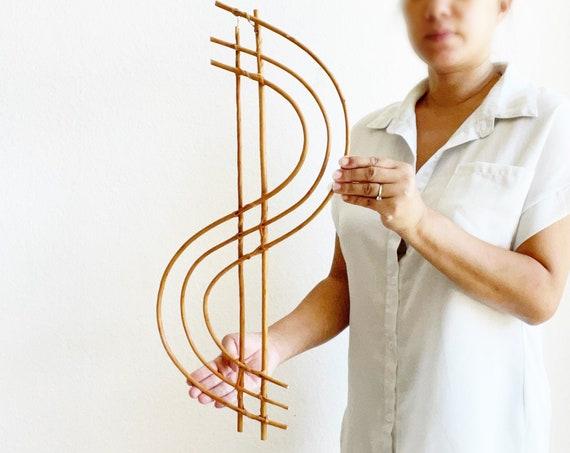 u shaped boho woven rattan bamboo wall art | rainbow wall hanging bamboo basket