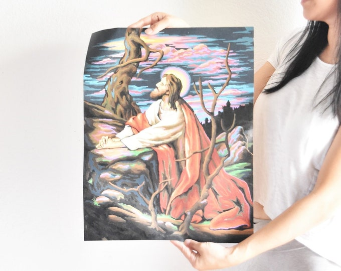 vintage jesus praying paint by number painting on canvas / religious gift / christian christianity