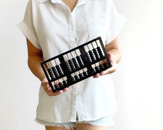 mid century vintage chinese silver wooden black abacus counter / counting numbers