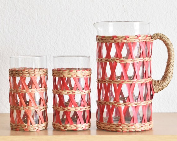 kitschy red woven rattan drinking glass juice pitcher set with cups / housewarming gift
