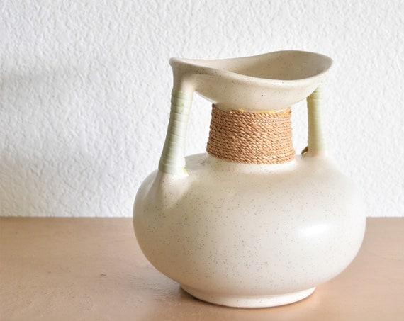 speckled white boho ceramic pottery navajo style wedding vase / drinking water pitcher pot