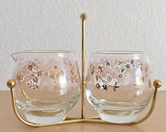 mid century set of 2 pink purple roly poly cocktail brandy glasses / gift barware