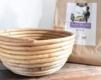 large wooden coiled bowl basket / fruit bowl