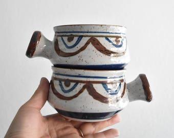 vintage set of blue brown stoneware soup bowls / mugs / pair