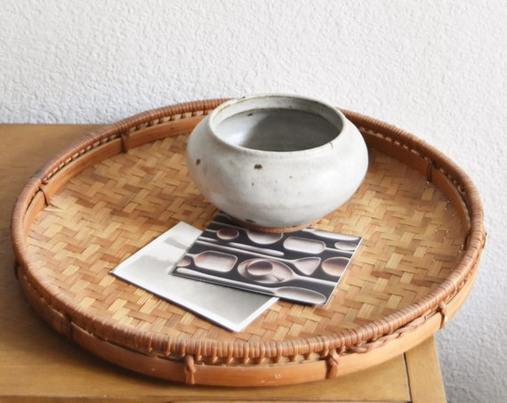circle woven bamboo rattan wood basket table tray / modern farmhouse decor