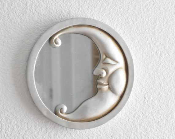 silver greay celestial moon wall hanging mirror / man on the moon sculpture