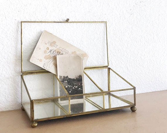 vintage glass brass display trinket jewelry box / gift box container
