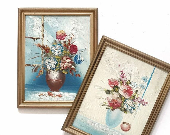 framed vintage original bouquet of blue pink flower paintings / shabby chic wall art set of 2