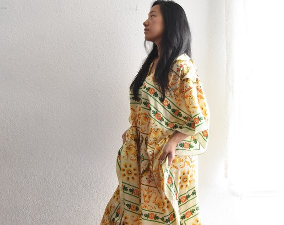 vintage yellow silk granny poncho night gown dress / long bohemian summer dress