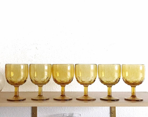 collection of large 6 yellow champagne wine glass goblets / depression glass set
