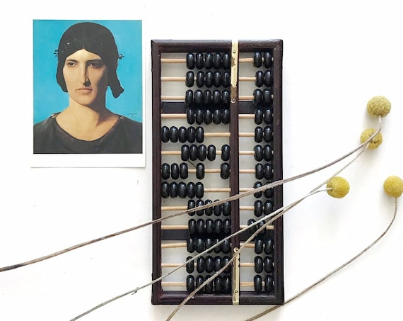 mid century vintage chinese brass wooden black abacus counter / counting numbers