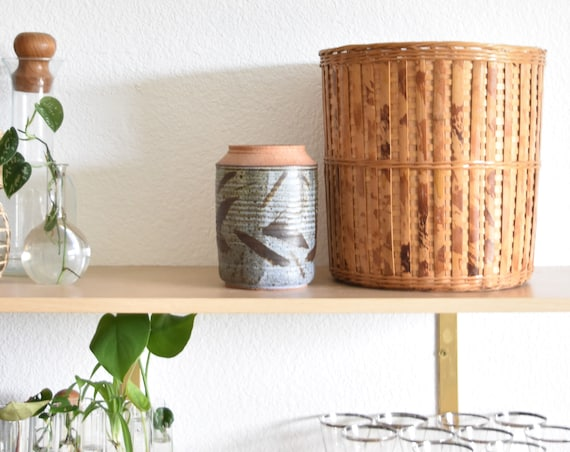 large cylinder boho woven rattan bamboo basket planter