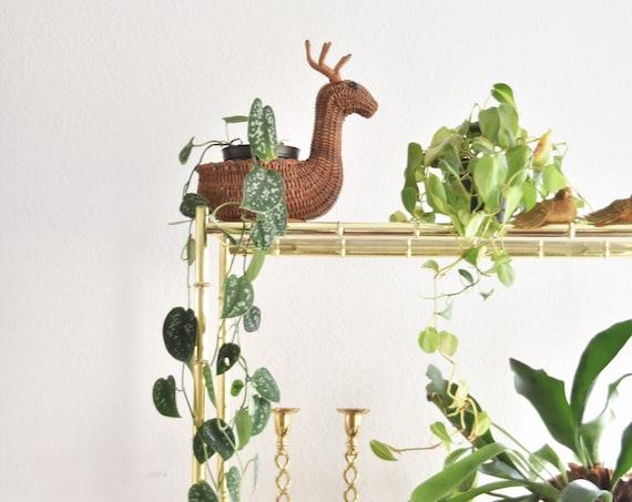 vintage christmas woven wicker reindeer basket | deer figurine antlers | gift box