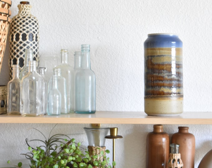 blue brown tall stoneware pottery vase / flower pot