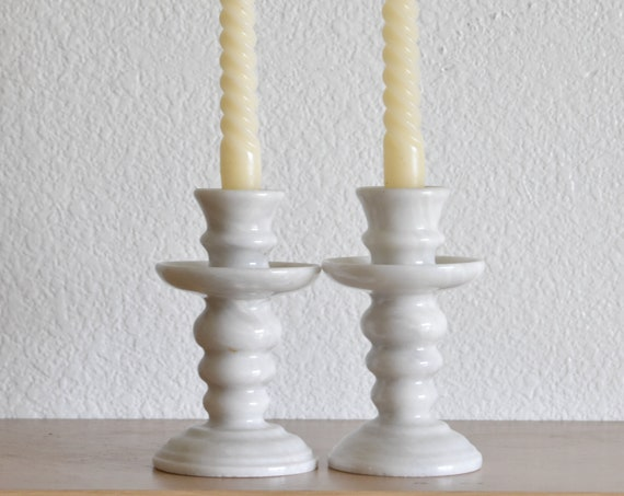 heavy white solid marble candlestick holders / set of 2