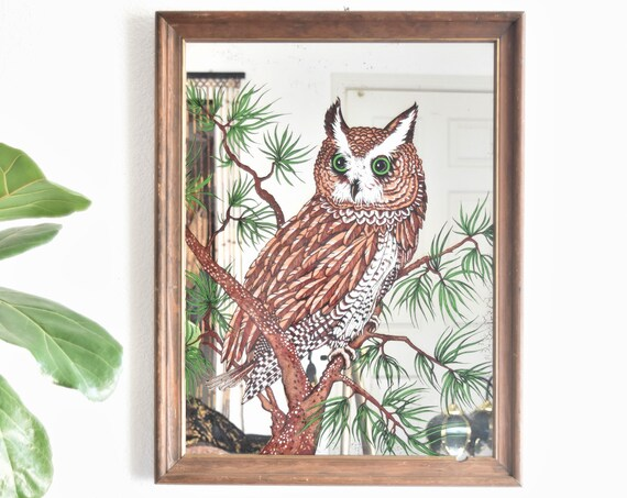 framed large mid century great horned owl wall hanging mirror | illustrated owl bird print